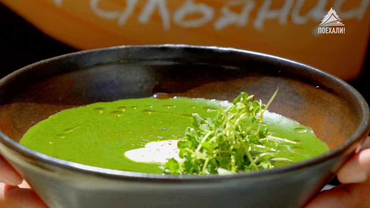 Холодный крем-суп из крапивы и лебеды