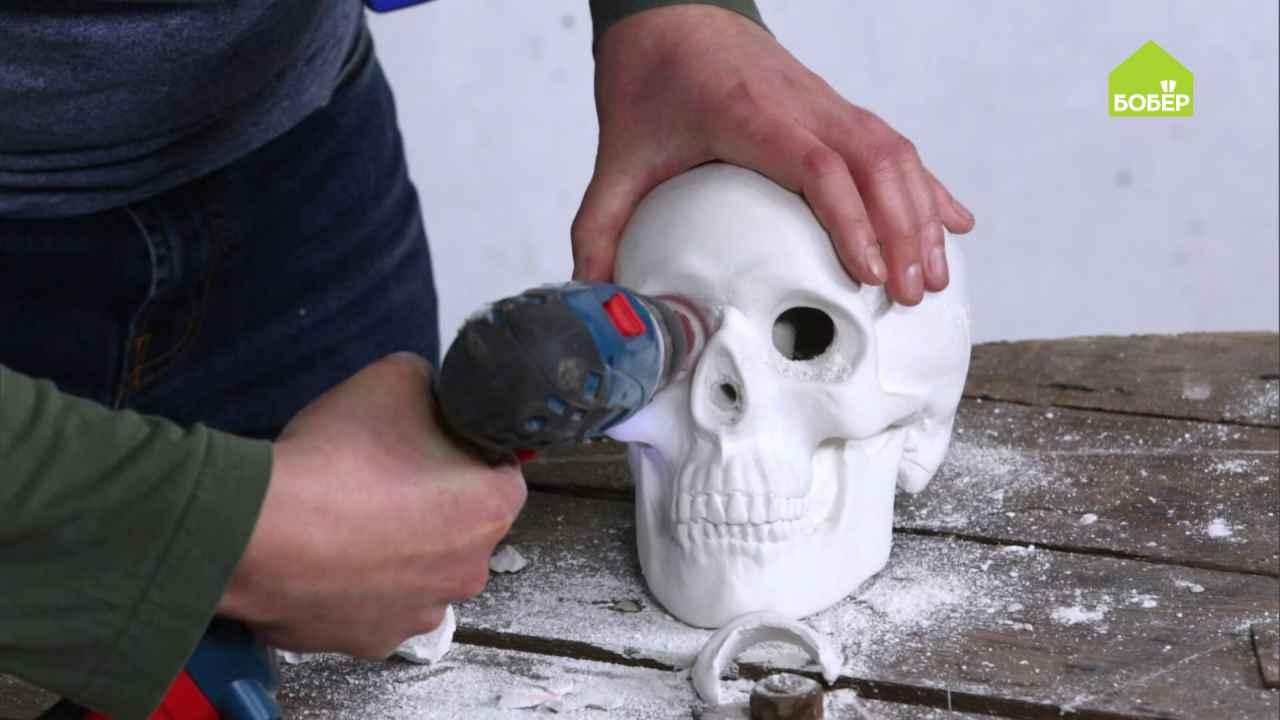 Светильник из гипсового черепа