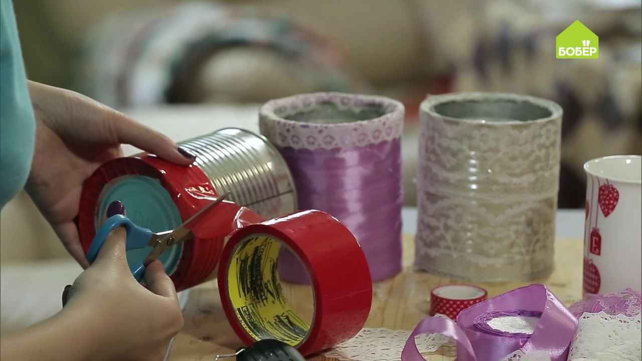 Полочки для полотенец из жестяных банок