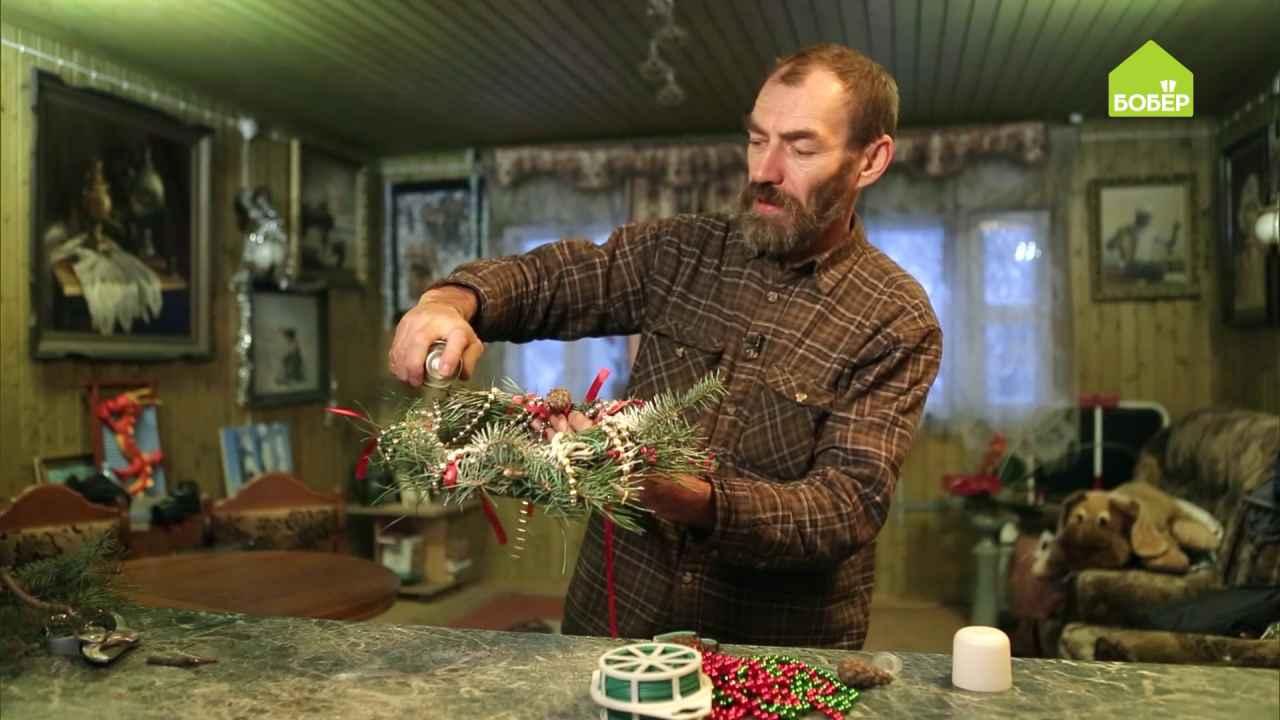 Как сделать новогодний венок из еловых веток