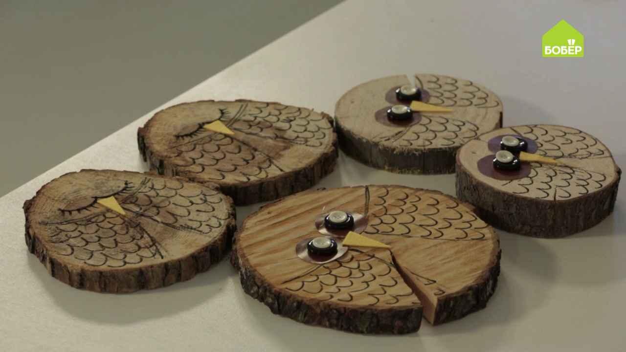 Шары-совы из деревянных спилов