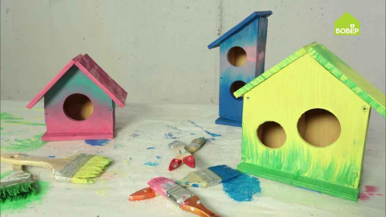 Разноцветные скворечники из фанеры