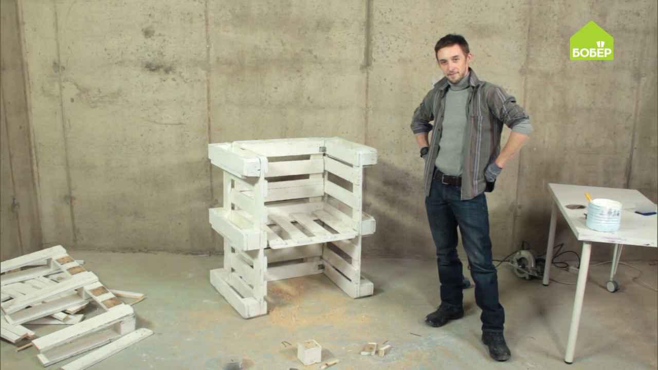 Функциональное кресло из палет