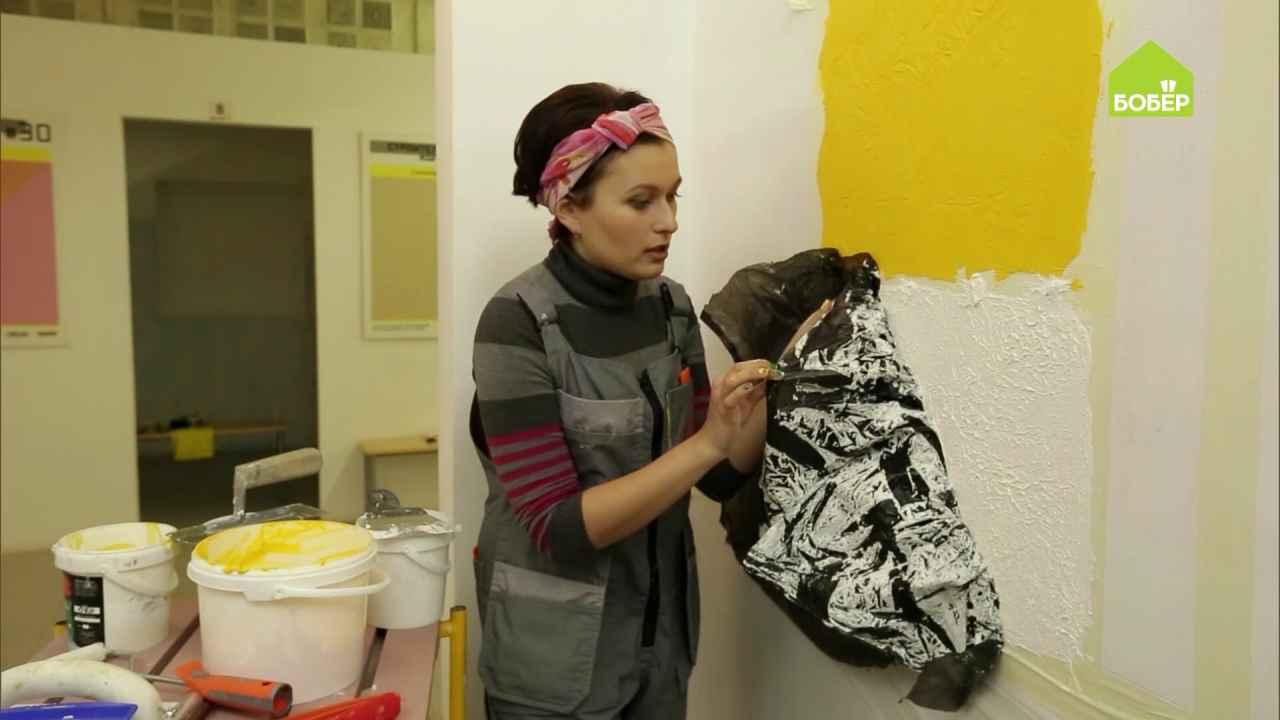 Декорируем стены: наносим штукатурку по сетке и по целлофану