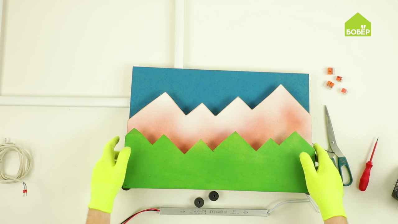 Объёмная картина с подсветкой «Горы»