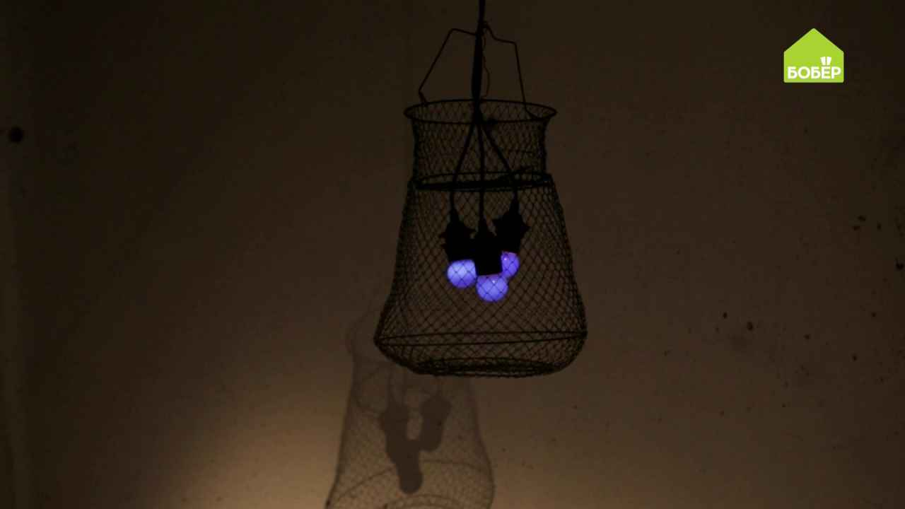 Светильник из рыболовного садка